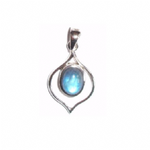 Classic Rainbow Moonstone Pendant Silver Pointy Oval